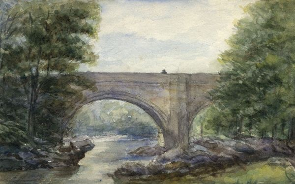 An amateurish daub of the stone bridge known as Devil's Bridge in Kirby Lonsdale, Cumbria (Cumberland). Date: 1893