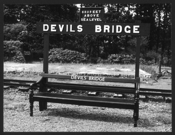 A platform sign at Devil's Bridge railway station, Wales, terminus of the Vale of Rheidol Railway from Aberystwyth