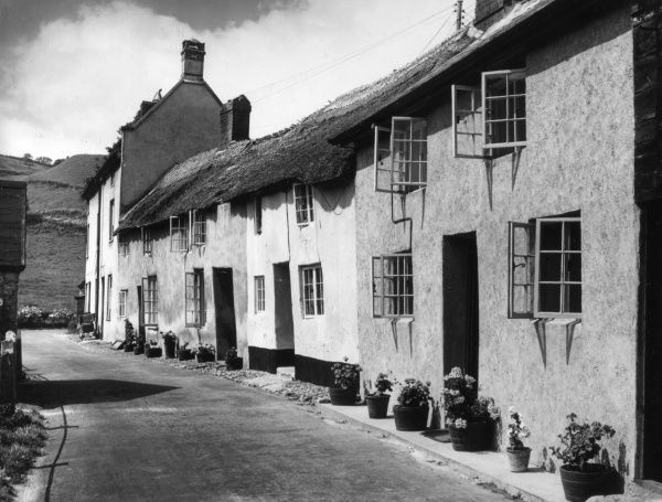 Lovely old thatched cottages, with their windows flung wide open during a summer heatwave, in the village of Branscombe, between Beer and Sidmouth, Devon, England. Date: 19th century