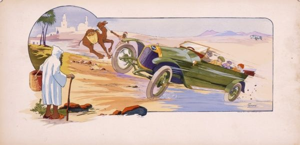 A car manufactured by DFP -- Doriot, Flandrin & Parant -- is driven through the desert by four French tourists, causing shock and surprise to people and camels