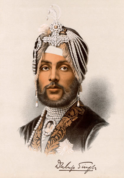 DHULEEP SINGH Briefly the Sikh Maharaja of Lahore; after annexation by the British, he became a Christian and lived in England