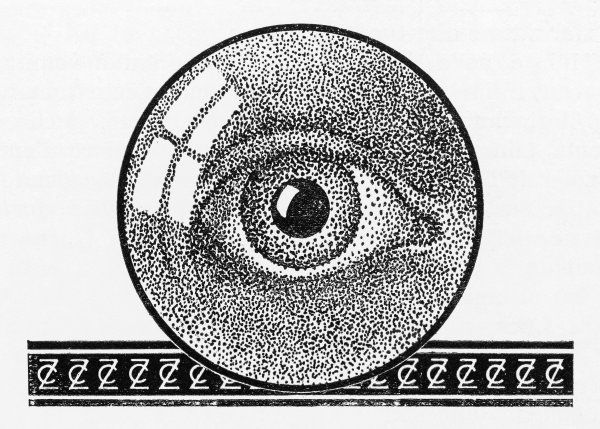 Illustration of an eye, made up of black dots