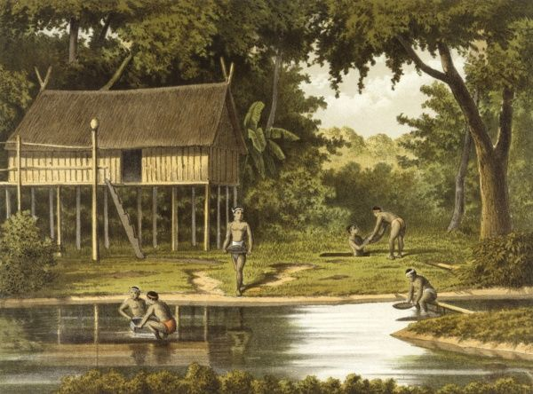 Natives hunting for diamonds in a river, Borneo. They sieve through the silt in the hope that they will find diamonds. Date: 1883