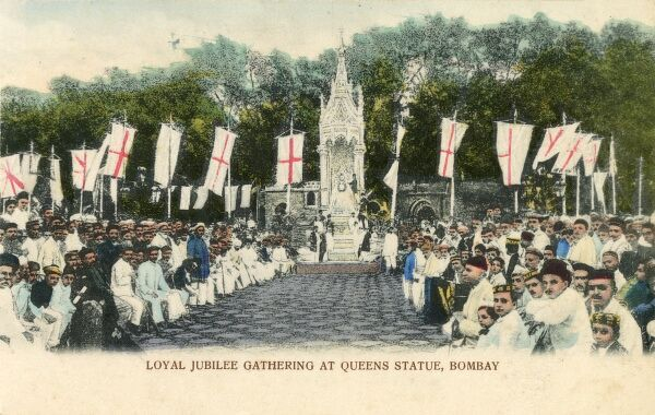 Loyal Diamond Jubilee Gathering in 1897 at the Queen's Statue, Bombay