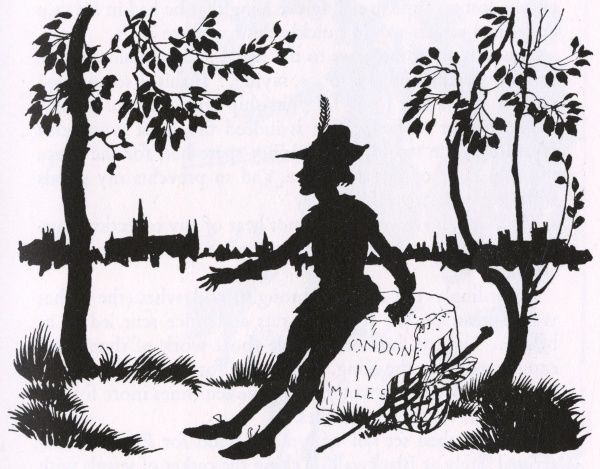 Dick Whittington sits on a milestone within sight of London, and hears the bells summoning him back. Date: 1933