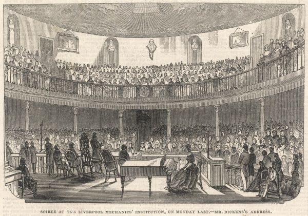 CHARLES DICKENS Giving an address at the Liverpool Mechanics' Institution, in 1844