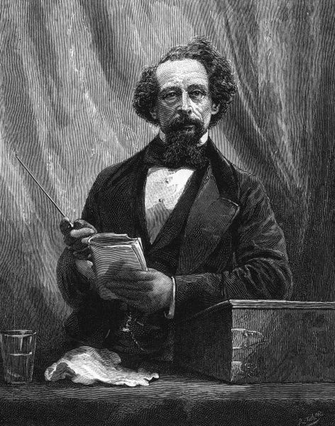 CHARLES DICKENS Dickens giving a public reading. Date: 1812 - 1870