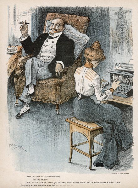 A businessman smokes his cigar while he dictates to his typist