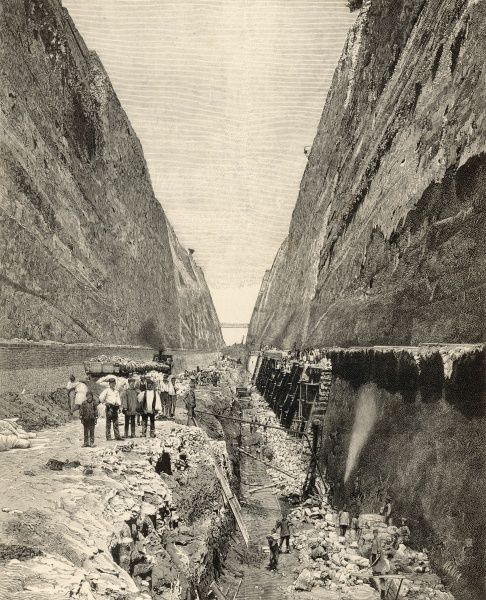 Construction of the Corinth Canal : cutting the path of the canal through solid rock