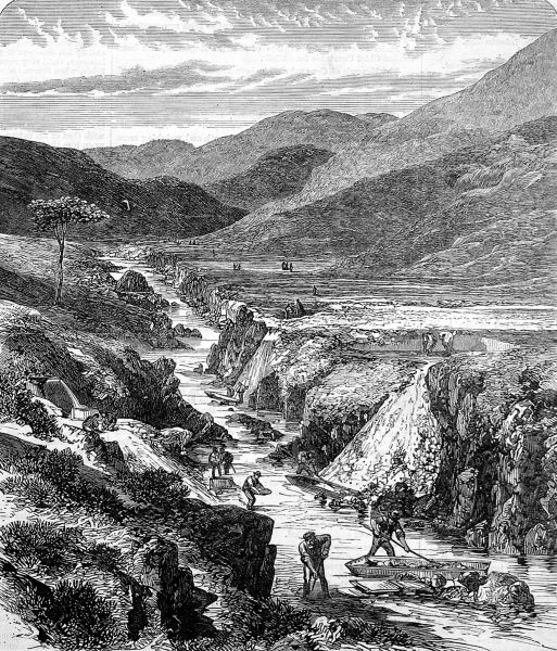 The Sutherlandshire gold diggings in Scotland. A sketch of men searching for gold at Kildonan Burn