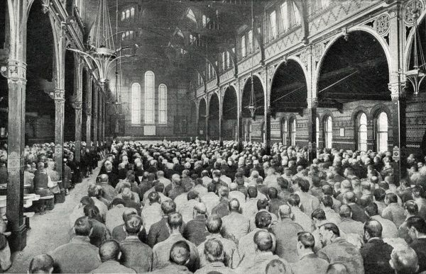 A view from the rear of the dining hall cum chapel (also known as the Great Hall) at what is thought to be the Holborn Union workhouse at Merton Lane, Mitcham, Surrey