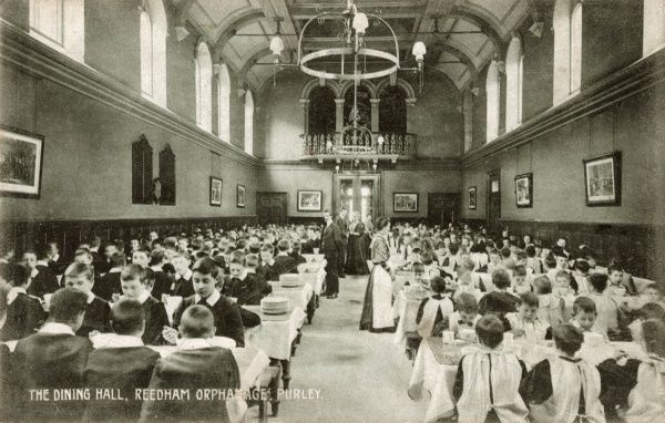 The dining hall at the Reedham Orphanage, Old Lodge Lane, Purley, Surrey. It was founded by the Rev Dr Andrew Reed, a Congregational Minister. The orphanage, originally named the Asylum for Fatherless Children was also known as the Home on the Hill