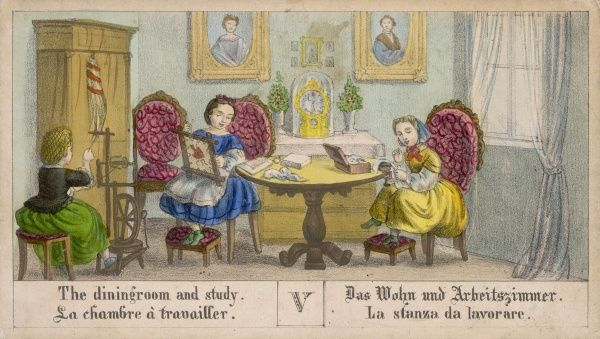 A dining room and study, possibly German. Three young women sit, one sews, one weaves, one produces a cross stitch or tapestry on a frame