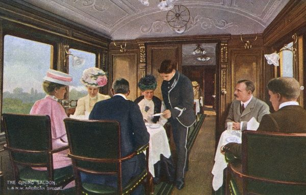 The dining saloon on the London & North Western Railway's non-stop express from London Euston to the Riverside Station, Liverpool, for the Atlantic cruise liners. Date: circa 1912