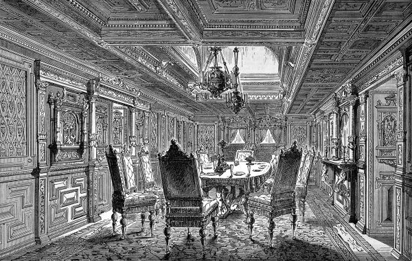 Engraving showing the dining saloon of the Royal Yacht 'Hohenzollern', owned by the Emperor of Germany, 1879. Date: 1879