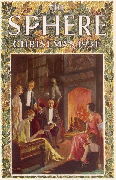 After Dinner - Uncle Robert holds forth by Van Abbe. Front cover illustration depicting an old uncle entertaining his younger relations by the fireside in what looks to be a very grand room of a stately home