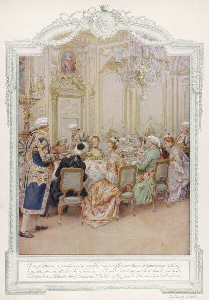Dinner in an aristocratic French home, with servants attending to everyone's needs