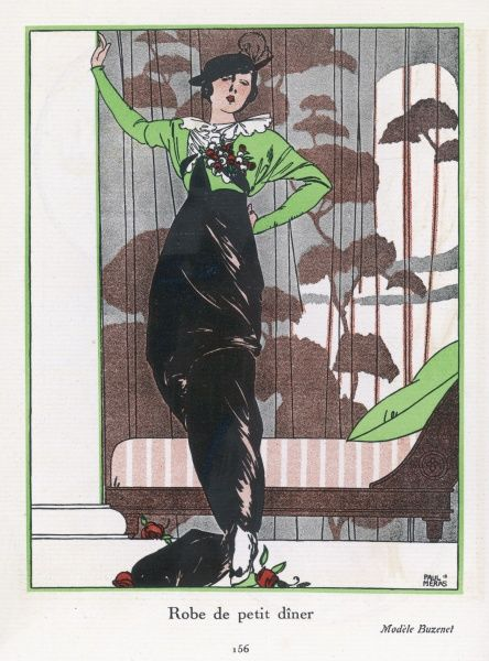 Design by Buzenet: green dolman (batwing) sleeve bolero (coatee) with white fluted collar & floral corsage, black dress with narrow trained skirt & draped & puffed tunic. Date: 1913