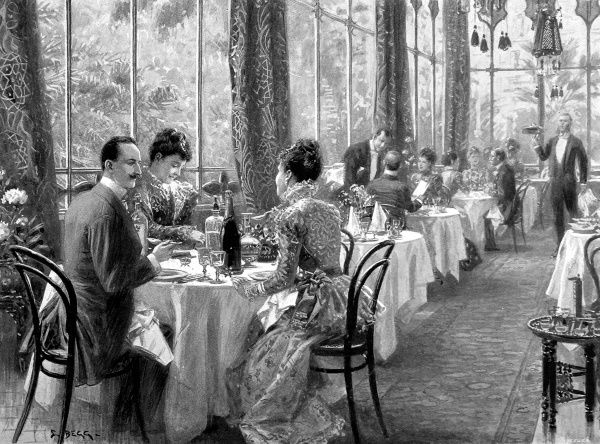 Dinner at the fashionable Grand Hotel de Quirinal in Rome in 1899