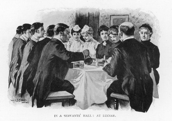 Dinner in the servants' hall of a large household : the butler presides, with housekeeper, lady's maids, housemaids and footmen ranged in order of seniority