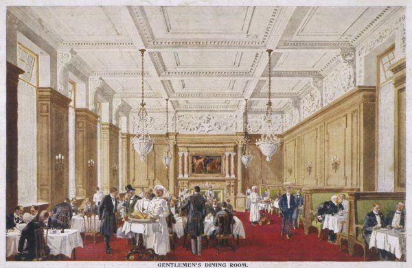 Dining at fashionable Simpson's restaurant in the Strand : the Gentlemen's Dining Room
