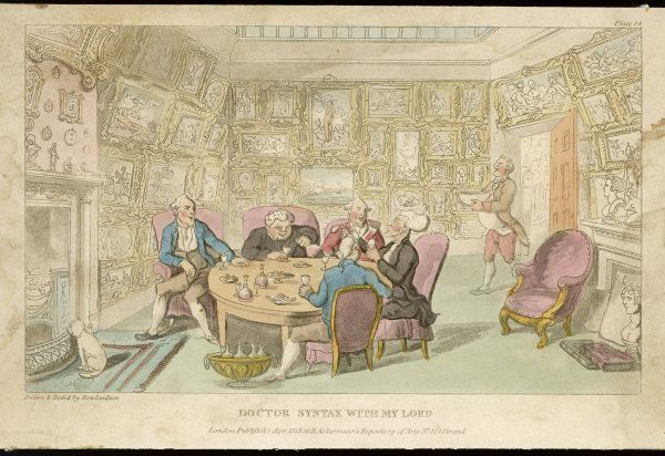 A group of five men sit drinking and chatting around a dinner table in a stately home
