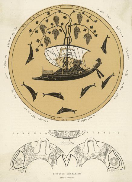 Illustration taken from a vase painting of sea-faring Dionysos/Bacchus in his ship