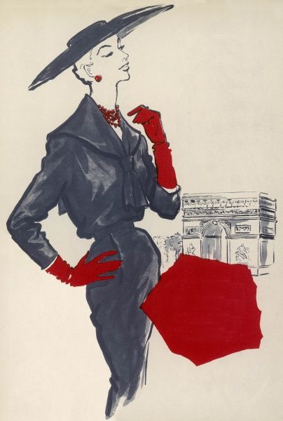 A sophisticated sailor suit from Christian Dior; a blouse topped dress of fine navy wool with a knotted sailor collar, a leather belt, and, as a complement, a cartwheel boater worn straight