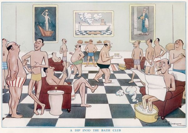 Humorous colour illustration by H.M. Bateman showing a group of men unashamedly standing around in their swimming trunks enjoying conversation at the 'Bath Club&#39