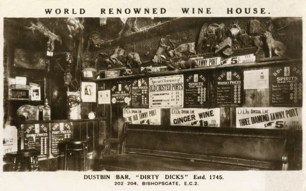 The World Renowned Wine House, Dustbin Bar at Dirty Dicks in Bishopsgate, London, established in 1745 c. 1920