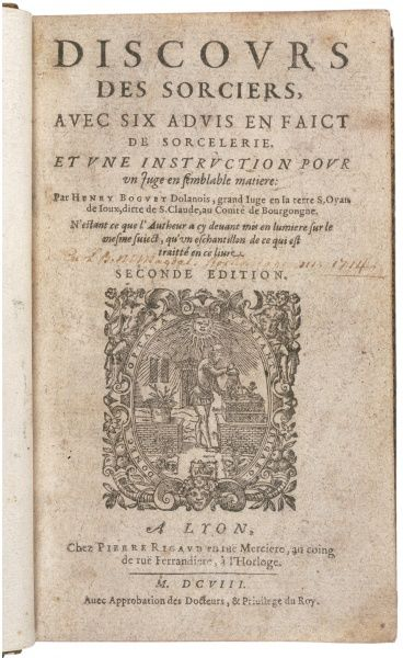 Title page of the second (enlarged) edition of 'DISCOURS DES SORCIERS' by the notorious southern French witch-hunter Henry BOGUET