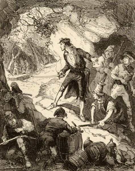 Captain Grant and his gang of Irish freebooters are discovered by a group of officers whilst hiding in a cave 1816