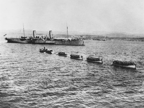 5th Battalion Connaught Rangers disembarking the Clacton at Mudros before going to Gallipoli during World War I