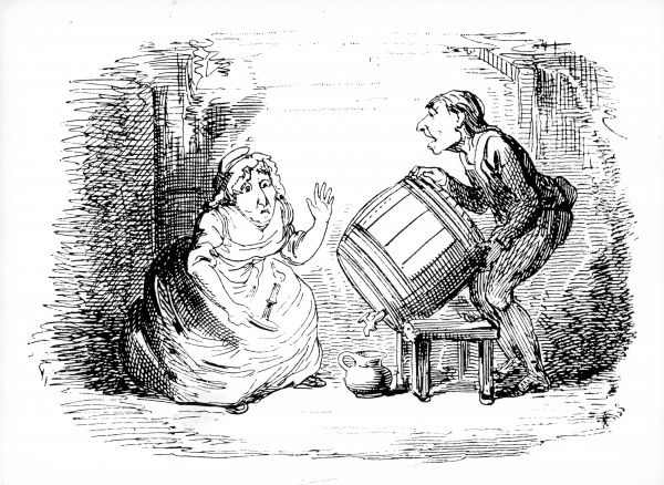 Disillusions, drawing by George Cruikshank (1792-1878) showing a couple running out of drink Date