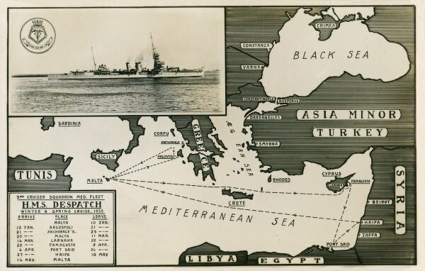 Dispatch routes for the winter and spring cruise (from port in Malta) of HMS Despatch, which travelled as far afield as Cyprus (22nd March) and Port Said (6th April). Date: circa 1935