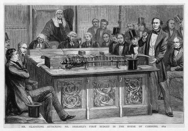 William Gladstone attacks Benjamin Disraeli's first budget speech, which had lasted five hours