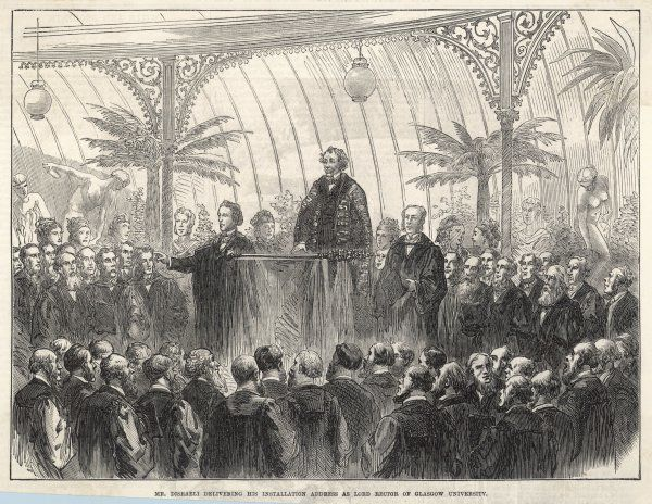 BENJAMIN DISRAELI Earl of Beaconsfield Delivering his installation address as Lord Rector of Glasgow University in 1873