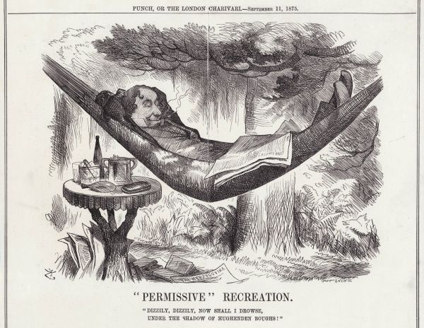 BENJAMIN DISRAELI Dizzy resting in his hammock at Hughenden, echoing the words of Ariel on his release from captivity