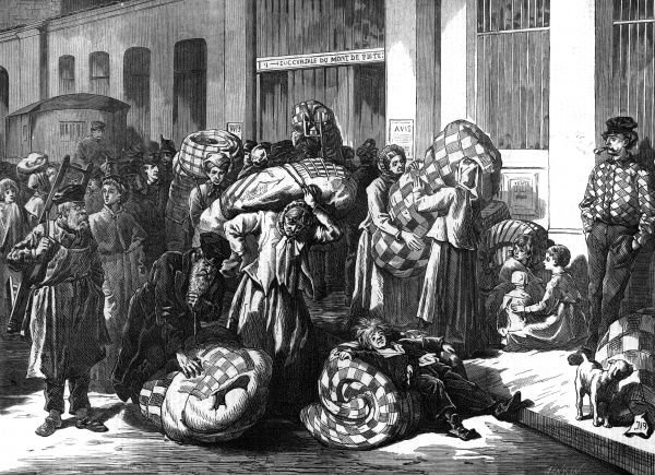 The war with Prussia, followed by the Commune, leave France in an impoverished condition : in Paris the poor are forced to pawn household possessions such as bedding, Date: 1874