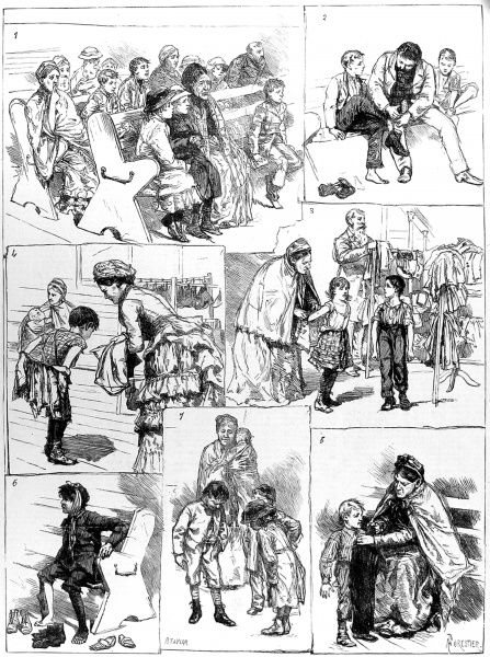 These illustrations show the London Samaritan Society's distribution of boots and clothing to poor children as follows: 1) Waiting their turn 2) Trying them on 3) The Clothes Department 4) A new coat for an old one 5) Not made to measure