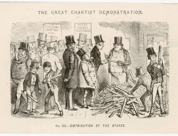 The Great Chartist Demonstration: Distribution of the Staves Special constables prepare for trouble by handing out truncheons