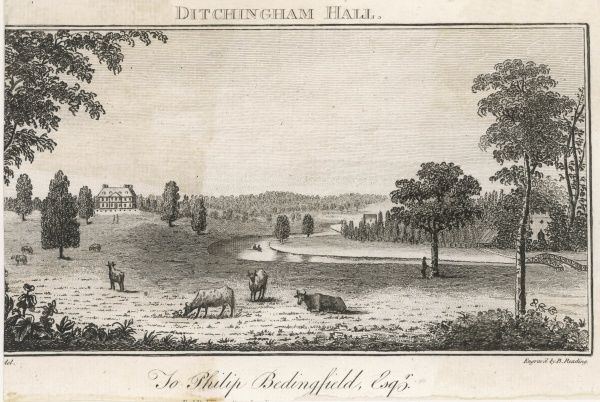 Distant view of Ditchingham Hall, Norfolk