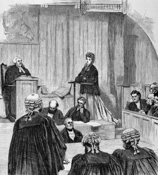 Divorce court scene from 1870 showing the plaintiff wife in the witness box being questioned by counsel