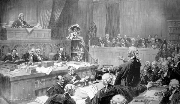 Divorce court scene from 1910, showing the plaintiff in the dock