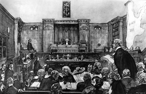 Illustration showing a scene in a divorce court of 1921 with a junior counsel examining a witness