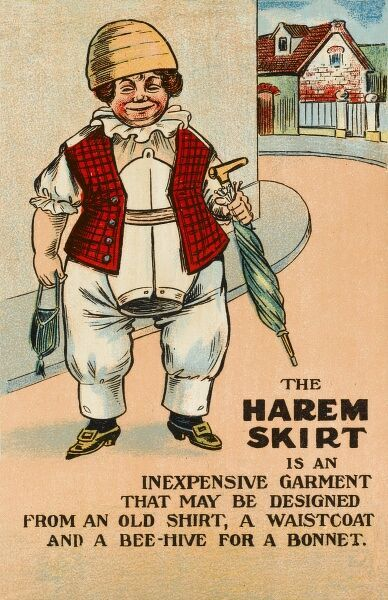 'The Harem Skirt is an inexpensive garment that may be designed from an old shirt, a waistcoat and a beehive (for a bonnet)&#39