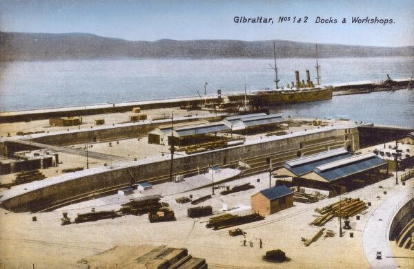 The No.1 and No.2 Docks and Workshops at Gibraltar Date: circa 1910s