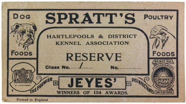 Hartlepool and District Kennel Association Reserve Prize card, with advertising by Spratt's and Jeyes&#39