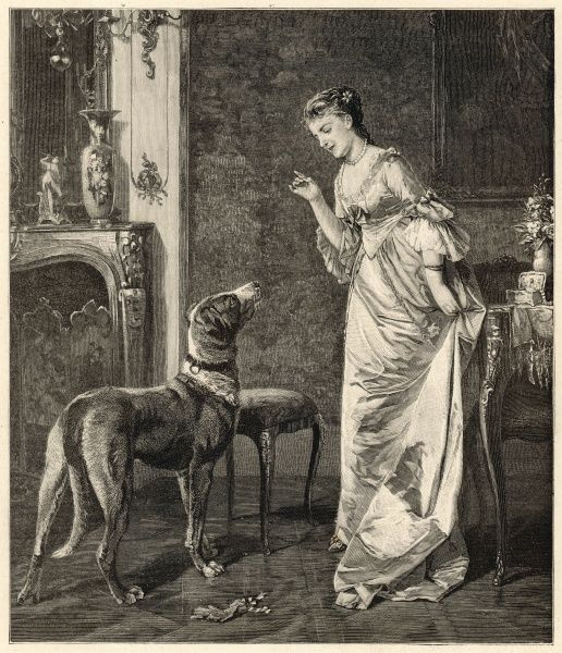 A lady gives orders to her dog, who looks expectantly up at her, hoping for some food maybe
