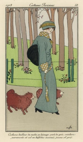 A lady manages to both keep warm and look elegant in a woollen 'tailleur du matin', while her dogs make do with what nature gave them
